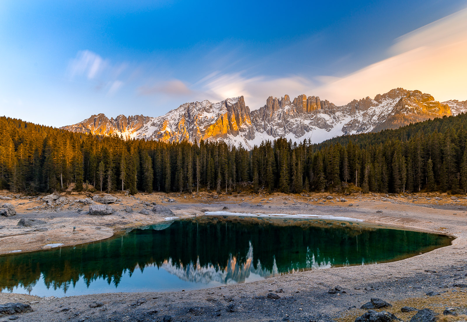 Dolomites Photography - Karersee with the view of Rosengarten and Latemar